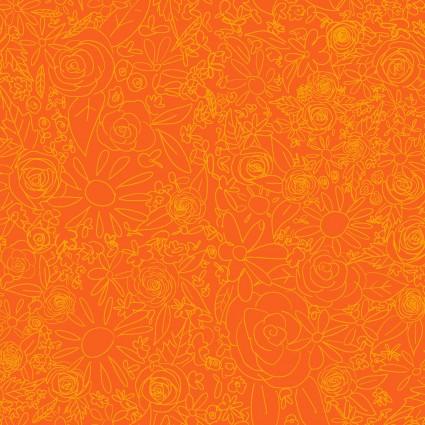 Y3076-37 Clothworks Painted Petals Doodle Floral