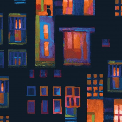 City Lights - Coral Cats in Windows