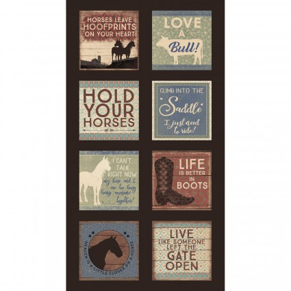 Hold Your Horses brown 24 inch panel