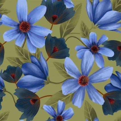 Y3229-23 Clothworks Canto Light Olive Cosmos