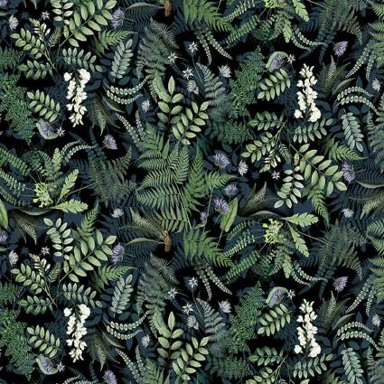 Botanical Journal - Digital Ferns Fabric- Y3240-3 Black