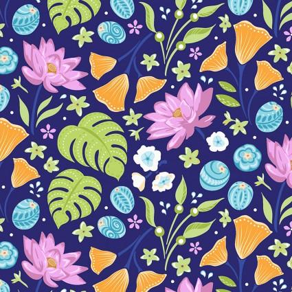 Benartex -Crescendo Floral Blue 45W