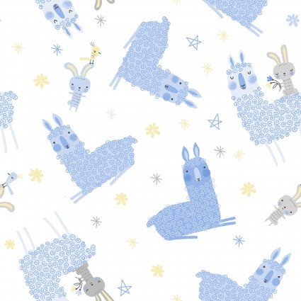 Contempo (Benartex) Baby Buddies Llamas and Bunnies - White/Blue