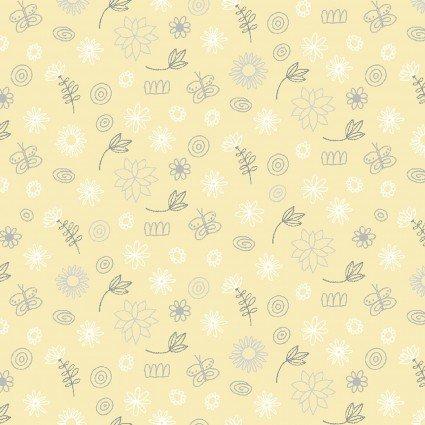 Contempo (Benartex) Baby Buddies Flowers and Butterflies - Yellow
