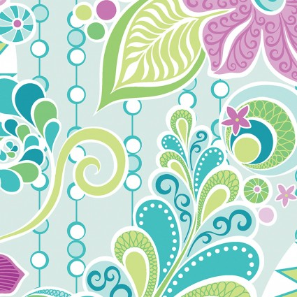 Free Motion Fantasy Fabric Feature Blue