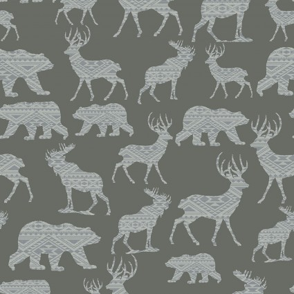Modern Lodge Mtn Patterned Silhouete Md Gray