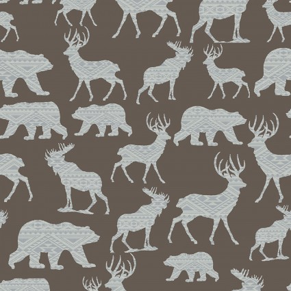 Brown Modern Lodge Mtn Patterned Silhouette