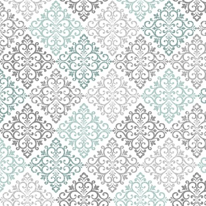 Damask Medallion Grey/Teal (Words to Quilt By)