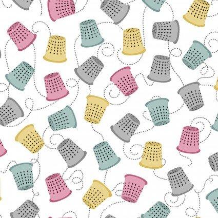 Sewing Theme - Thimbles on White