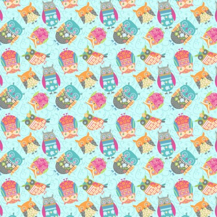 Awesome Owls Small Owls Light Teal