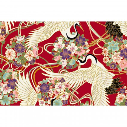 Japanese Spring - Swans on Red w/Flower Bouquets