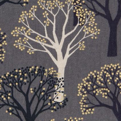 Japanese Cotton/Linen Canvas - Metallic Trees