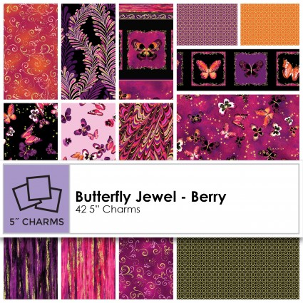 Kanvas Studio - Butterfly Jewel Charm Pack- Berry