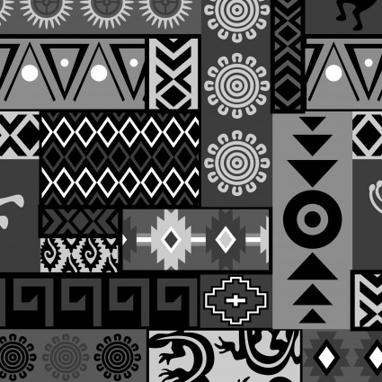 David Textiles - Mystical Native Patch-Black/Gray
