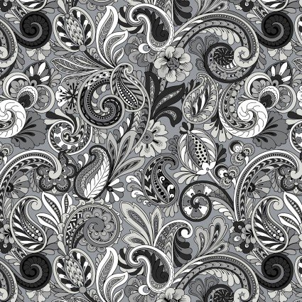 Paisley Sorbet, DATHM-2002-4C-5, Black, White and Gray
