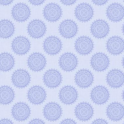 Blue Deco Motif:  Deco Nature by Wild Apple for David Textiles