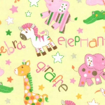 Flannel Prints Yellow Zebra Elephant
