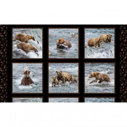 Elizabeth's Studio Fishing Bears Panel Black