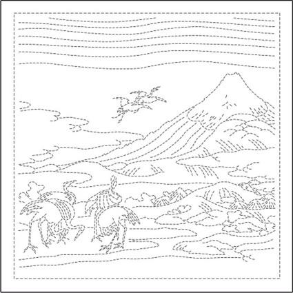 Sashiko Sampler (Hokusai Katsushika) Seven Cranes White