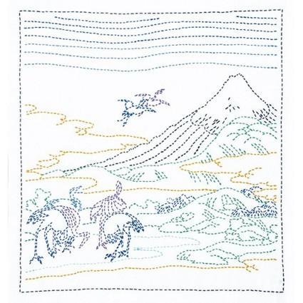 Sashiko Kit (Hokusai Katsushika) Seven Cranes White