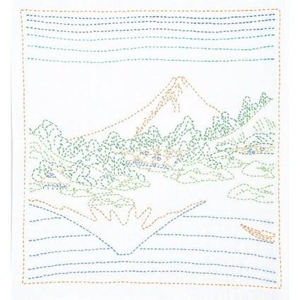 Sashiko Kit (Hokusai Katsushika)UP-Down Fuji White
