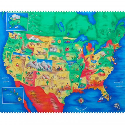 USA Map Fabric Panel