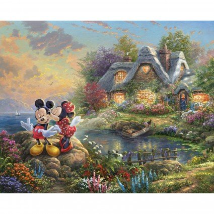 Disney Dreams Mickey & Minnie Sweetheart Cove Fabric Panel