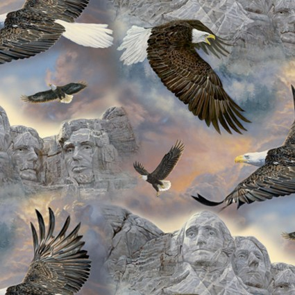 David Textiles - Past & Present-Eagles/Mt Rushmore - WW-3122-9C-1