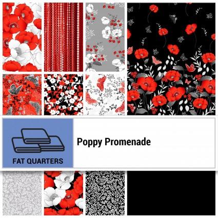 Benartex Poppy Promenade Fat Quarters by Kanvas