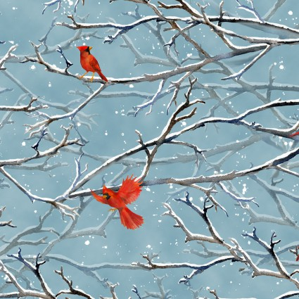 Sheltering Snowman Red Birds