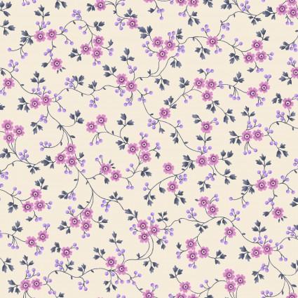 Windsor Park Cream Purple Tiny Flowers