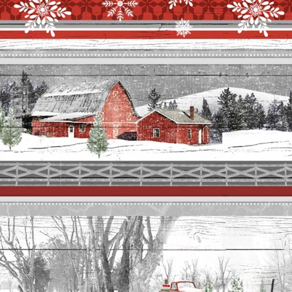 Holiday Homestead Scenic Border Stripe