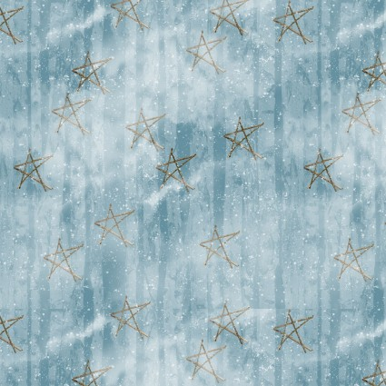 Faded Stars Fabric - Blue Snow Days Collection by Henry Glass Fabrics