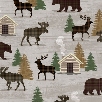 Twilight Lake Animal and Cabin Print