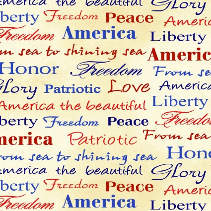 Land of the Free Multi-color Words