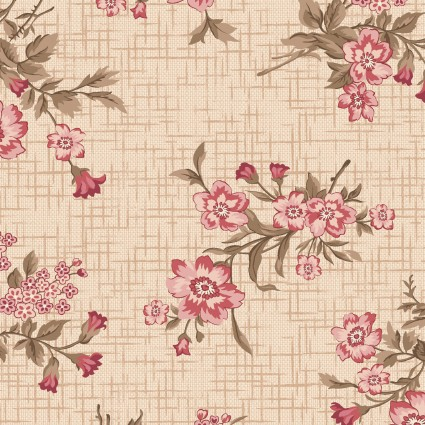 Tickled Pink Cream Vintage Floral Toss
