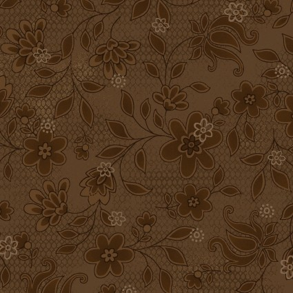 Tickled Pink Brown Lacey Floral