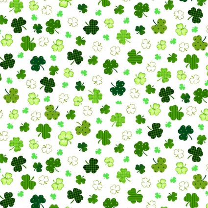 White Irish Folk Scattered Shamrocks *SALE*