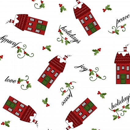 Holly Hill Christmas White Tossed Houses