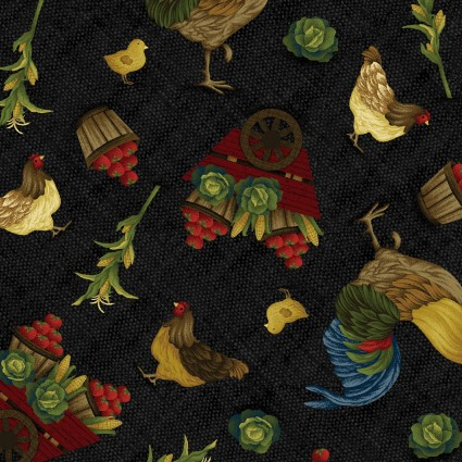 2560-99 Farm to Market Rooster Toss Black