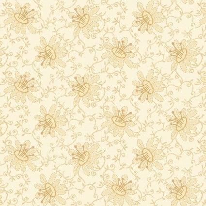 Linen Closet II Tan Daisy and Vines on Cream