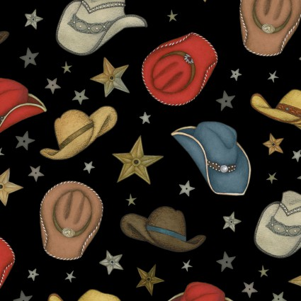 Cowboy Hats Fabric Rodeo Roundup Collection by Henry Glass Fabrics