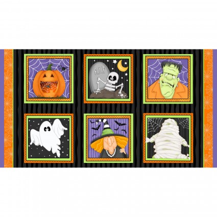 Fabric Panel-H Glass A Haunting We Will Glow Focus Blocks 24 x 42