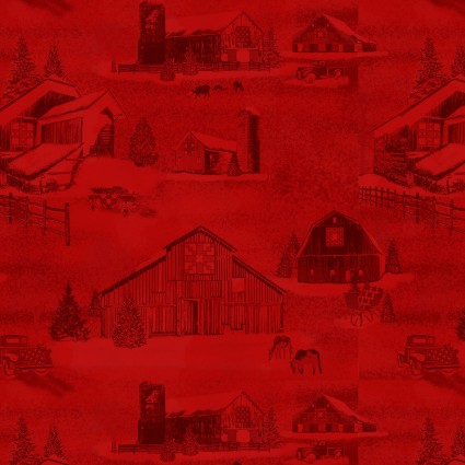 Holiday Heartland - Farms on red