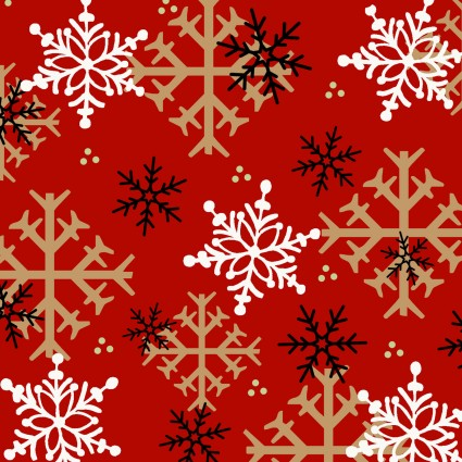 Timber Gnomies Snowflakes on Red