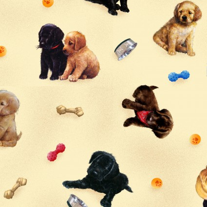 Pups in the Garden Fabric by the Yard