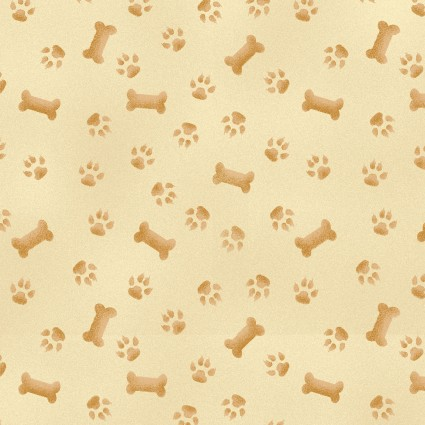 Pups in the Garden Paws and Bones Fabric by the Yard