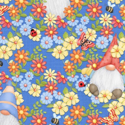 SPECIALTY FABRICS:  Gnomes Peeking through Flowers on Blue:  Gnome is Where Your Garden Grows by Shelly Comiskey for Henry Glass