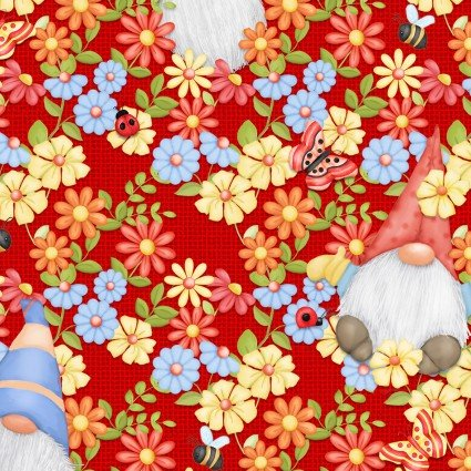 SPECIALTY FABRICS:  Gnomes Peeking through Flowers on Red:  Gnome is Where Your Garden Grows by Shelly Comiskey for Henry Glass