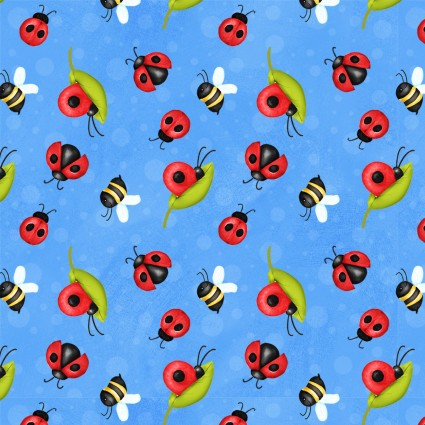 SPECIALTY FABRICS: Ladybugs, Snails, and Bees on Blue:  Gnome is Where Your Garden Grows by Shelly Comiskey for Henry Glass